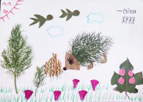海路小学 开展树叶剪贴画活动 图